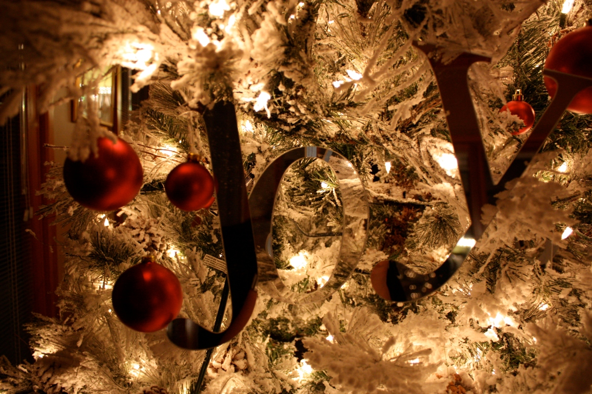 joy ornament on tree
