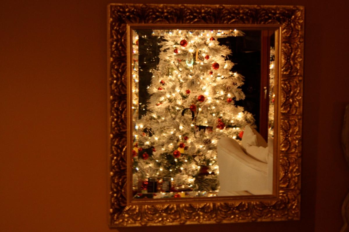 christmas tree viewed through mirro